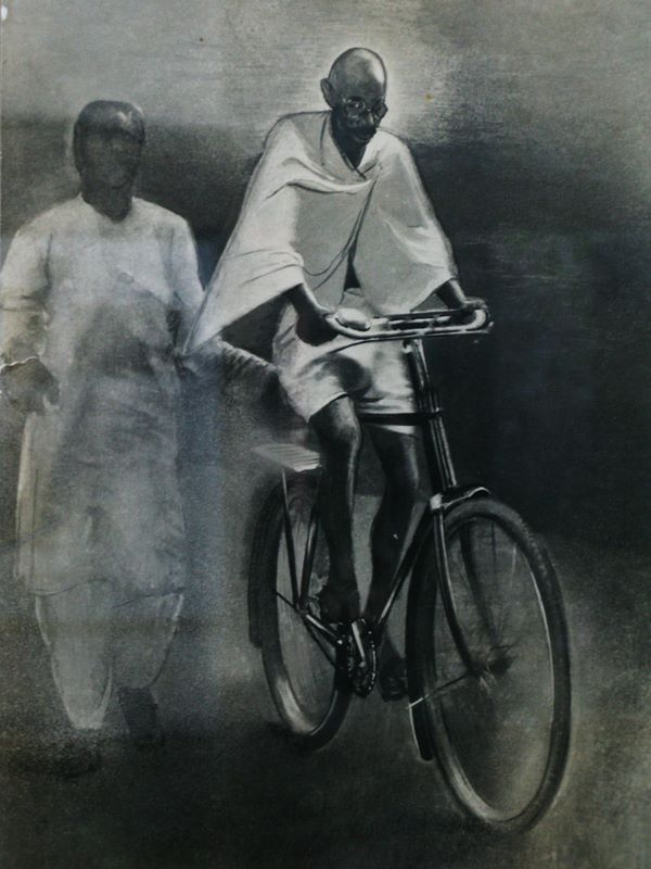 Gandhi on bike