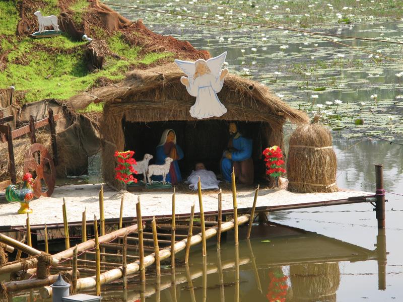 Floating Christmas scene