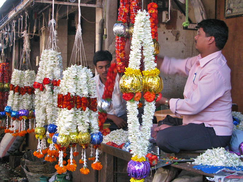 Mysore flower market garlands