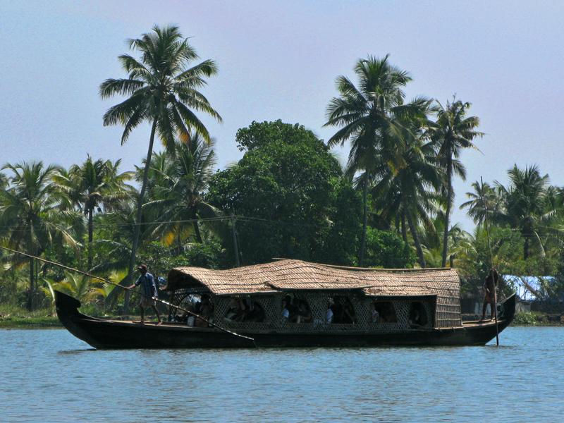 Tourist boat in Kerala backwaters